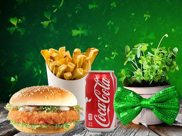 St. Patrick's Day Breaded chicken Fillet burger