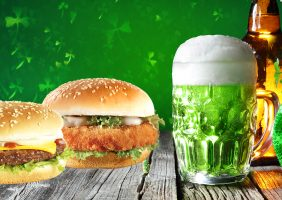 St. Patrick's Day Breaded chicken Fillet burger and 1/4 pounder burger